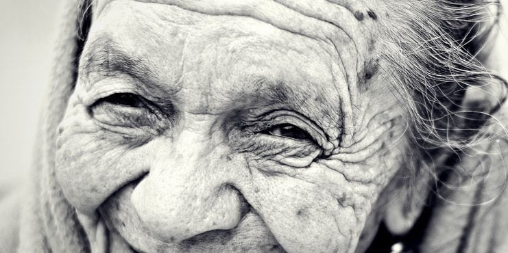 Old lady with wrinkles